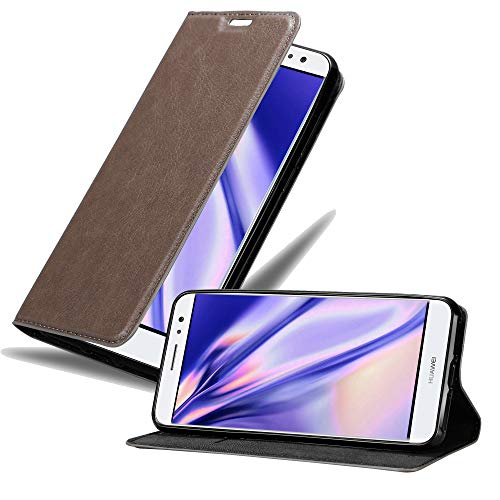 Cadorabo Hülle für Huawei NOVA Plus in Kaffee BRAUN - Handyhülle mit Magnetverschluss, Standfunktion & Kartenfach - Hülle Cover Schutzhülle Etui Tasche Book Klapp Style