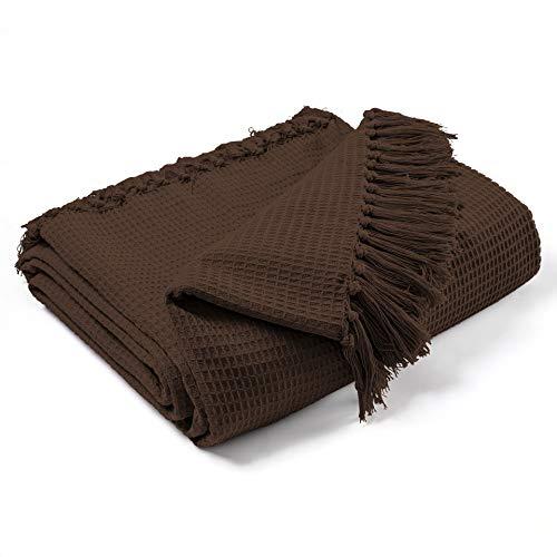 EHC Überwurf aus 100prozent Baumwolle in Waffelstruktur für extra große Sofas mit 3 Sitzen oder King-Size-Betten, 228 x 254 cm, Schokoladenbraun, King Size