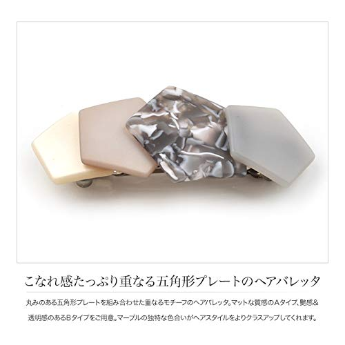 creamdotクリームドット重なる五角形プレートのヘアバレッタA:グレー×ワンサイズ