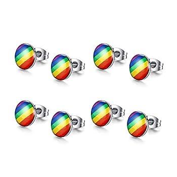 VNOX 4 Pairs Gay Lesbian Pride Rainbow Ear Round Hoop Stud Earring for Gay & Lesbian Pride,Styel 3
