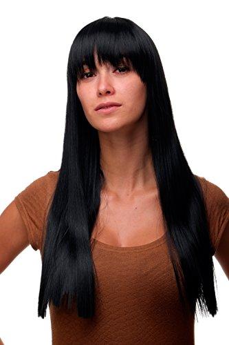 WIG ME UP ® - GFW373-1 Perücke modern Schwarz Tiefschwarz Pony gerader Schnitt elegante glatte Haare 60 cm