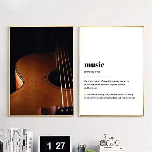 GZSBYJSWZ Guitarra Moderna Letras Musicales Citas Pintura en Lienzo Decoración nórdica del hogar Carteles e Impresiones Imagen de Arte de Pared para Sala de Estar Sin marco-40x50cmX2