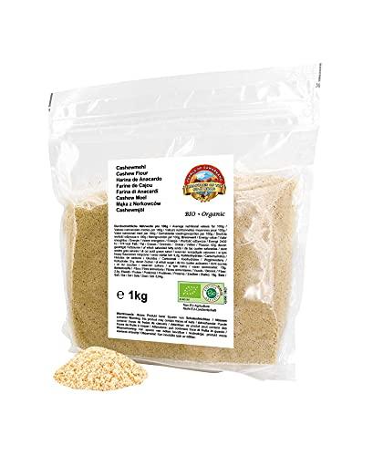 Farina di anacardi BIO 1 kg - non disoleata - a base di anacardi non tostati e non salati in qualità crudista - ideale per la cucina vegana