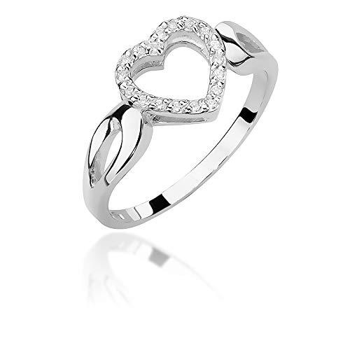 Anillo de compromiso para mujer, oro blanco 585 de 14 quilates, con diamantes naturales y brillantes
