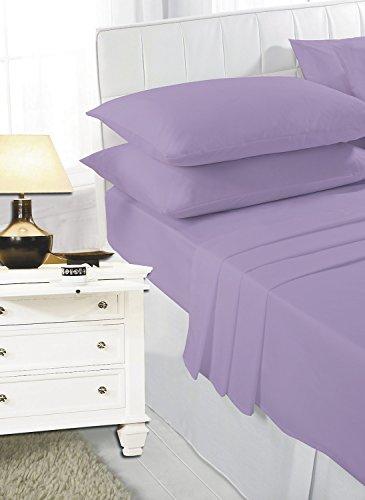 mFabrics - Lenzuolo con angoli in policotone, 40 cm di profondità, facile da pulire, lavabile in lavatrice, per letto singolo, matrimoniale, king e super king size, 1,2 m, colore: lilla