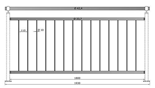 Geländer senkrechte Streben Balkon Terrasse Brüstung 1930 mm 900 mm