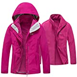 Diamond Candy Womens Winter Ski Jacket, 3-in-1 Warm Waterproof Coat with Windproof Fleece Liner Hotpink