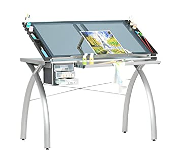 Futura Crafting Drafting Drawing Table with Adjustable Top Silver and Blue Glass