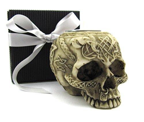 Deko Totenkopf Skulptur, Schädel, Skull, Geschenk-Set in einer eleganten Geschenkverpackung mit Schleifenband, Geschenkidee Gothic Mystik Fantasy (Kunststein ohne Unterkiefer)