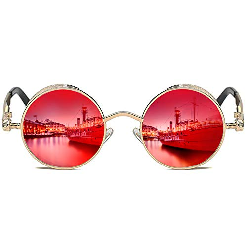 ROCKNIGHT Polarized Circular Sunglasses Women Red Mirrored Sunglasses for Women