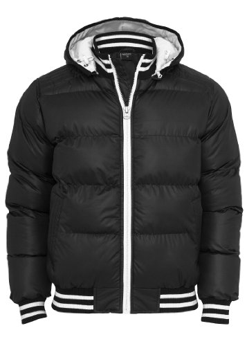 Urban Classics Shiny 2 Tone Hooded College Bubble Jacket Black - M