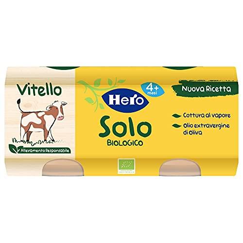 Hero Solo Omogeneizzati Vitello Bio, Cartone da 12 Vasetti 2 x 80 Gr