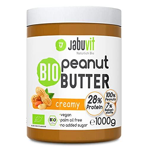JabuVit Peanut Butter, 1x1000g, köstliche Erdnussbutter in Bio Qualität, Ohne Zuckerzusatz, Ohne Palmöl, 30g Veganes Protein, 8g Ballaststoffe, BIO-Inhaltsstoffe, Made in Germany (Creamy, 1)