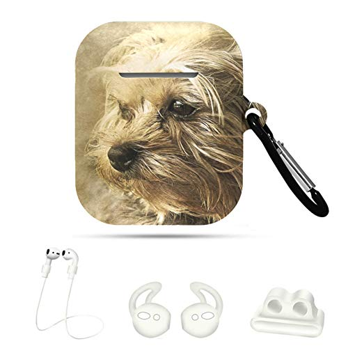 CaseAirpods Dog Animal York Shire Art Vintage Decorative 5 In 1 CuteAirpodsCaseCover AirpodCaseFunny For Airpods 1&2 with Keychain/Strap/Ear Hook/Watch Band Holder