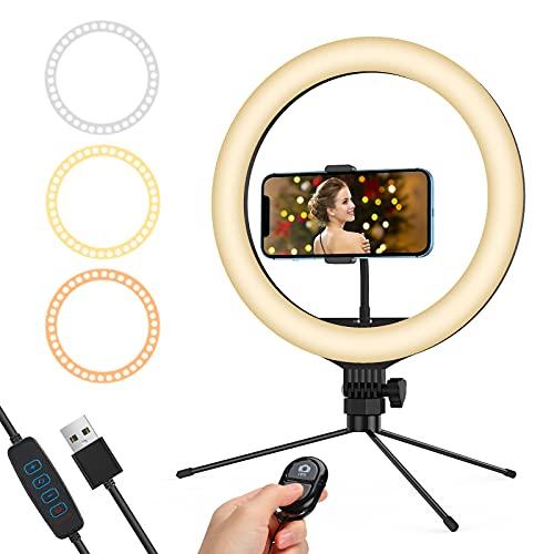 Lieront LED Ringlicht mit Stativ, 13 Zoll Selfie Ringleuchte mit 3 Beleuchtungsmodi und 10 Helligkeitsstufen, für TikTok/YouTube/Instagram Live Streaming Show oder Make-up Fotografie