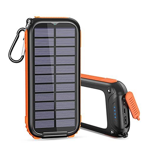 A ADDTOP Caricatore Solare 26800mAh, Caricabatterie Solare Con 3 Salidas Powerbank Solare con 32 LEDs Luci per Smartphones Tablets, ECC