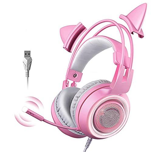 Auriculares para juegos montados en la cabeza, lindo micrófono para auriculares, transmisión USB principal de canales, luz rosa, auriculares para juegos USB para juegos de deportes electróni(Rosa)
