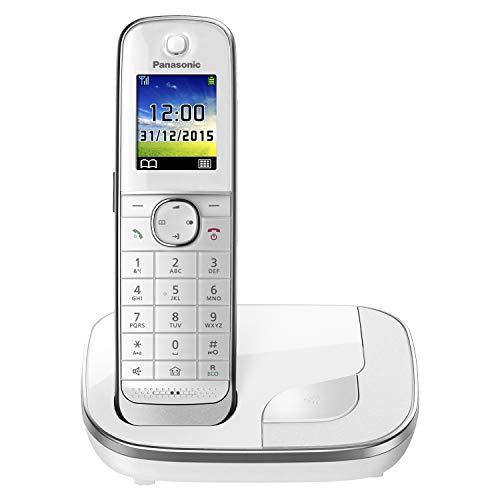 Panasonic KX-TGJ310GW Familien-Handy ohne Anrufbeantworter (schnurloses Handy, strahlungsarm, Anrufschutz, DECT Basisstation, Freisprechen) weiß