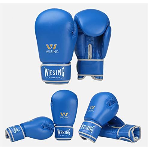 LBYSK Boxhandschuhe Männer und Frauen Professionelle Fitnesstraining Mikrofaser Muay Thai Boxing Glove Vollfinger-Handschuhe Schlags-Trainingsgeräte,Bblue,8oz