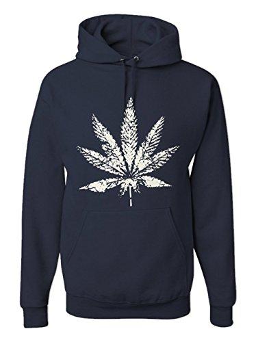 Men's Pot Leaf Graphic Hoodie Marijuana 420 Hooded Fleece Sweatshirt Navy Blue