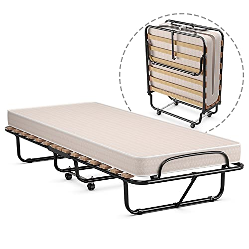 GOFLAME Rollaway Beds with 5 Inch Memory Foam Mattress, Folding Twin Bed for Adults, Portable Guest Beds with Sturdy Metal Frame for Spare Bedroom & Office