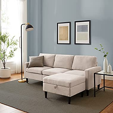 CHADIOR Convertible Sectional Sofa with Reversible Chaise 77″ L-Shaped Couch with Storage Ottoman Modern Linen Fabric for Small Space Living Room Apartment (Beige)