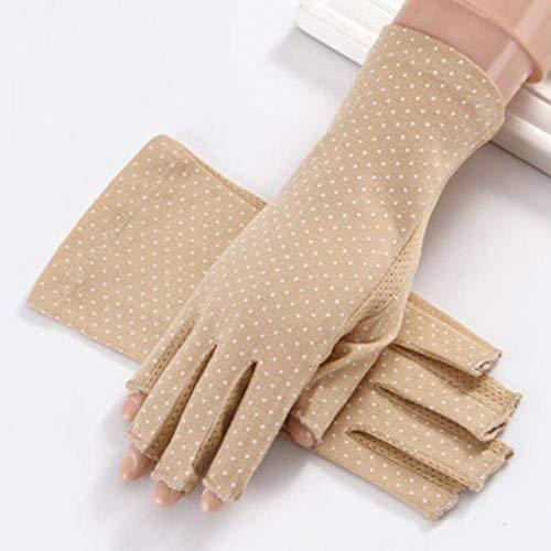 ZHTY Sonnencreme Handschuh Damen Sommer Baumwolle Sonnencreme Handschuhe, Fahren und Radfahrenhandschuhe, Frauen Blume Bit Halb-Fingerhandschuhe Song (Color : B Khaki, Size : A)