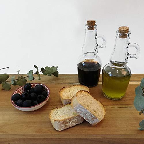 2tlg. Set Karaffen Spender für Essig und Öl je 250ml aus Glas mit Korken und Henkel