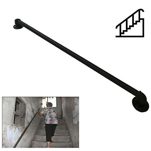 Comif-barkruk trapleuning, trapleuning voor binnen en buiten, retro ijzeren smeedijzer- loft-leuningen voor ouderen, industriële stijl, mat zwart (1-20 voet)