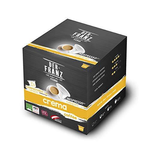 Der-Franz Crema Kaffeekapseln UTZ, 100 Kapseln, mit Nespresso kompatibel, 100% kompostierbar, 500 g (100 x 5g)