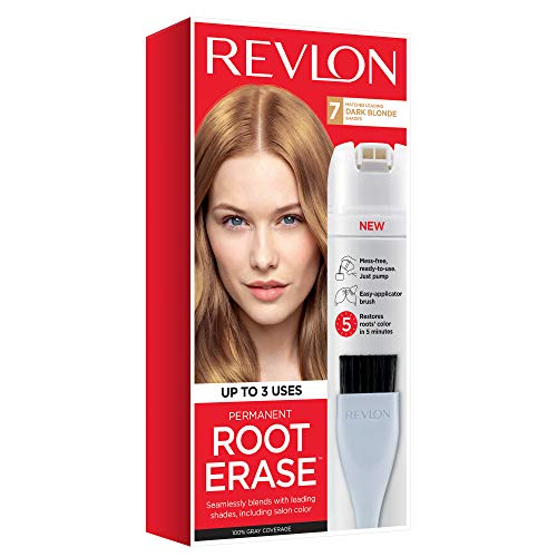 Revlon Root Erase Permanent Hair Color, Root Touchup Hair Dye, 100% Gray Coverage, 7 Dark Blonde, 3.2 oz