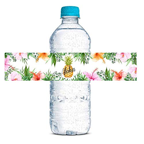 Watercolor Pineapple Aloha Themed Luau Party Waterproof Water Bottle Sticker Wrappers, 20 1.75' x 8.5' Wrap Around Labels by AmandaCreation