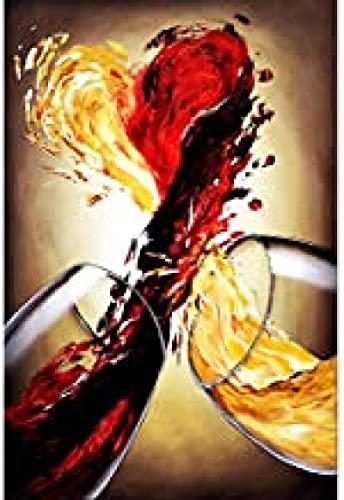 Lomoko Cartel de Arte de Pared de colisión de Vino Tinto y champán, impresión en HD, Foto, Lienzo, Pintura, Sala de Estar, decoración para el hogar (23.62x31.50 in) 60x80 cm sin Marco