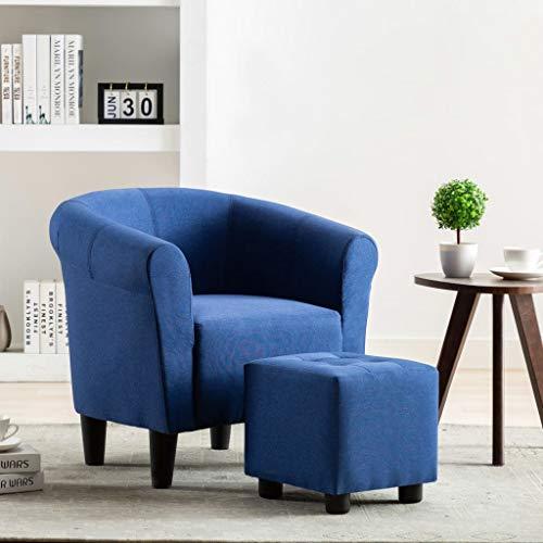 UnfadeMemory 2-TLG. Set Chesterfield-Sessel mit Hocker Stoffsessel Armsessel Fußhocker Stoff Relaxsessel Loungesessel Ergonomische Rückenlehne und Armlehnen (Blau)