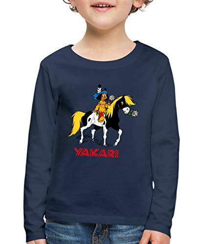 Yakari Indianer Reitet Auf Seinem Pferd Kleiner Donner Kinder Premium Langarmshirt, 110/116 (4 Jahre), Navy