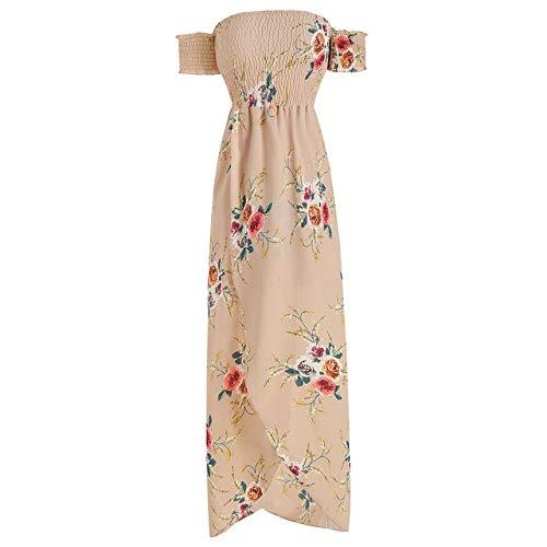HZD Frauen schulterfrei Blumendruck Boho Kleid Mode Strand Sommerkleider Damen trägerloses langes Maxikleid,Apricot,XL