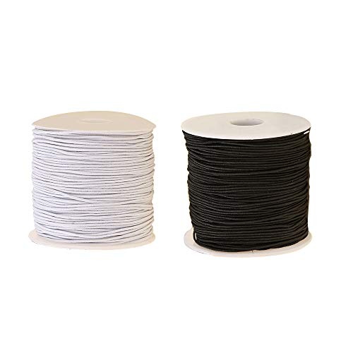 WTSHOP 0.8 mm Elastic Cord Beading Threads Stretch String Fabric Crafting Cords for Jewelry Making Bracelets Beading,100m,2 Sets (White and Black)