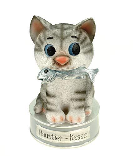 Kremers Schatzkiste Spardose Haustierkasse für Tierarztbesuch oder die neuen Katze 17 cm Polyresin Sparschwein