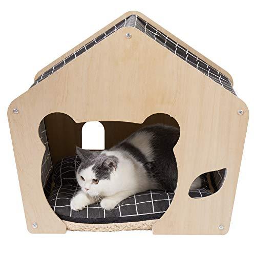 bingopaw 犬小屋 室内小型犬 屋根付き 冬 おしゃれ 木製 ペットテントベッド ドーム型 可愛い クッション付き 洗える ふわふわ キャットハウス 柴犬/猫/うさぎ 夏