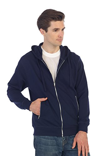 Gioberti Men's Full Zip Up Hoodie with Metal Zipper Pockets, Navy, X Large