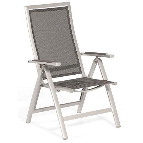 Sonnenpartner Klappsessel Star Aluminium mit Textilen Silber Klapp-Sessel Klappstuhl