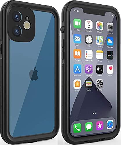 Diseñado para iPhone 12, IP68 impermeable protección completa a prueba de polvo a prueba de golpes funda para iPhone 12 6.1 '' construido en protector de pantalla (negro)