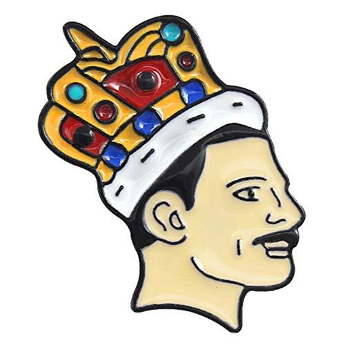 Freddie Mercury Wearing Crown Enamel Brooch Badge
