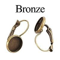 CHAOQIANG 8 10 12 14 16 18 20 25ミリメートルフランス語レバーカボションピアスブランクイヤリングベースカメオベゼルトレイジュエリー作り用品を設定します,高品質 (色 : Bronze, サイズ : 16mm x 10pcs)