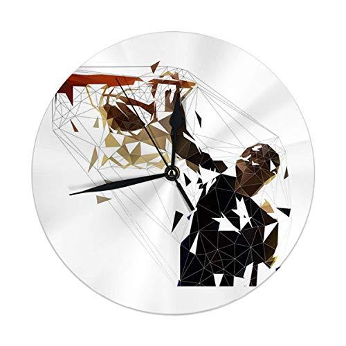 Mesllings Reloj de pared sin tictac, 9.8 pulgadas, pelota de baloncesto en cesta, baja poligonal, grandes relojes redondos