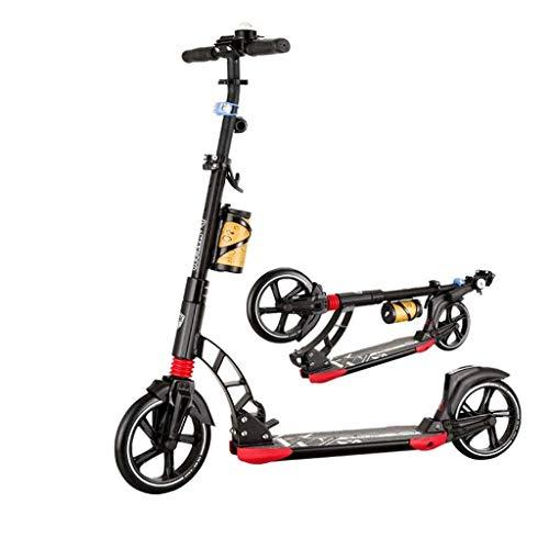 DJ-MJJ Scooter de Simple y con Estilo Adulto, Que no Sean eléctricos Rueda Delantera de Gran tamaño, Plegable con Rueda Grande de la PU, Regulable en Altura for los Deportes al Aire Libre