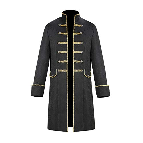 Flanco Men's Steampunk Vintage Medieval Tailcoat Jacket Renaissance Retro Gothic Victorian Frock Coat Uniform Halloween Cosplay Costume (L, Black)