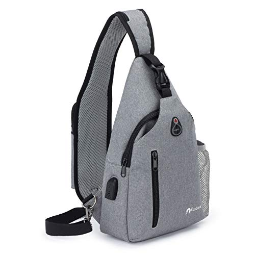 Foxlink Sling Bag Men Women USB Anti Theft Backpack Large One Strap Crossbody Shoulder Chest Water Resistant Travel Multipurpose Outdoor Hiking Gym School Dog Walking Daypack (Grey)