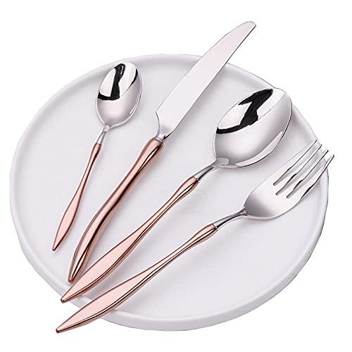 OUDEING Juego De Cubiertos Colores,Cuchillo y Tenedor de Acero Inoxidable 304, Conjunto de Cuchillas 24, Espejo Pulido, 6 porciones-Oro Rosa 24pcs