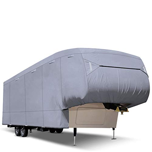 RVMasking Upgraded Waterproof 5th Wheel RV Cover, Fits 31'1'-34' RVs - Easy Installaiton Anti-UV Ripstop Camper Cover with Adhesive Repair Patch